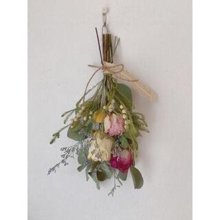 ドライフラワー ポポラスに大きな三色の薔薇のスワッグ(ドライフラワー)