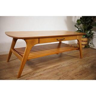 送料無料【新品】北欧調 棚付 テーブル 幅110㎝ アンティーク 風