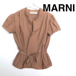 マルニ(Marni)のMARNI コットン ブラウス ギャザーショルダー パフスリーブ ブラウン 42(シャツ/ブラウス(半袖/袖なし))