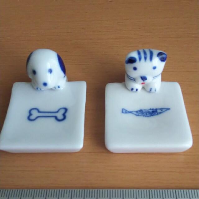 インテリア 箸置き 陶器製 犬 猫 柄セット 未使用 コレクション インテリア/住まい/日用品のキッチン/食器(テーブル用品)の商品写真
