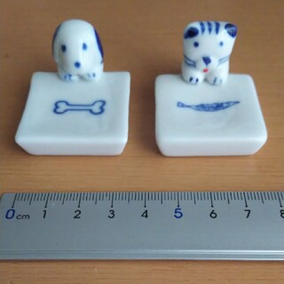 インテリア 箸置き 陶器製 犬 猫 柄セット 未使用 コレクション