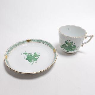 ヘレンド(Herend)のHEREND コーヒーカップ&ソーサ― ホワイト/アポニー/グリーン柄(食器)