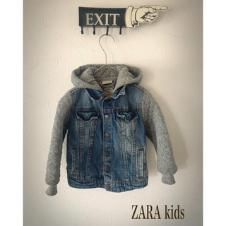 ザラキッズ(ZARA KIDS)のZARAkids スエットフード付きデニムジャケット 110(ジャケット/上着)