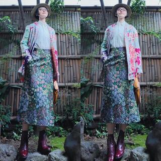 ビームスボーイ(BEAMS BOY)のビームスボーイ グリーンゴブラン ジャガード ペンシル巻きロングスカート総柄花柄(ロングスカート)