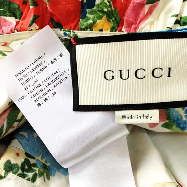 Gucci(グッチ)の極美品 GUCCI グッチ GGパールフローラ コットン ワンピース 花柄 レディースのワンピース(ロングワンピース/マキシワンピース)の商品写真