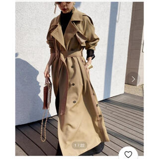 Ameri VINTAGE - MINIMAL FLARE LONG TRENCH COAT Mサイズ
