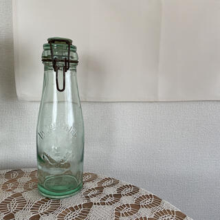 フレンチアンティーク 瓶 蚤の市 グリーン ボトル ガラス
