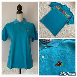 ミキハウス(mikihouse)の希少 ビンテージ ミキハウス アップリケ 青 ワイドサイズ ポロシャツ(ポロシャツ)