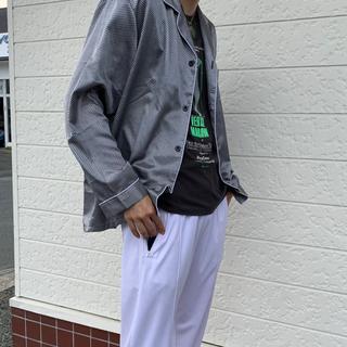 Vintage パジャマ シャツ シルバー 総柄 古着 ヴィンテージ ビンテージ(シャツ)