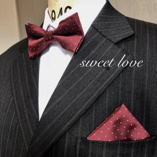 蝶ネクタイ ポケットチーフ2点セット/メンズ/ワインレッド