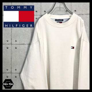 TOMMY HILFIGER - 【希少】 トミーヒルフィガー フラッグタグ 刺繍ロゴ ホワイト スウェット L