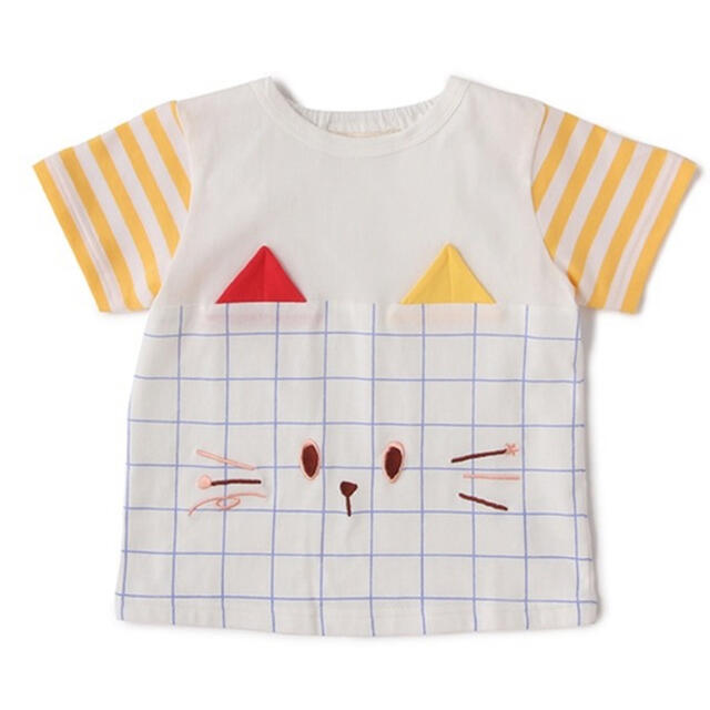 kladskap(クレードスコープ)の新品未使用タグ付ベイビーチアーbabycheerネコTシャツ80プティマイン キッズ/ベビー/マタニティのベビー服(~85cm)(Tシャツ)の商品写真