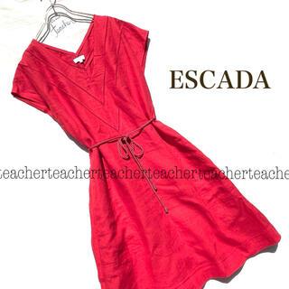 ESCADA - リネン ふんわり ワンピース 赤 レッド リボンベルト Vネック 麻 涼やか