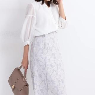 ジャスグリッティー(JUSGLITTY)の新品 JUSGLITTY ジャガードタイトスカート 薄紫(ひざ丈スカート)
