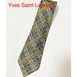 【高級】Yves Saint Laurent 総柄ネクタイ チェック 幾何学模様(ネクタイ)