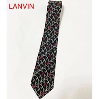 ランバン(LANVIN)の【美品】LANVIN ランバン 総柄ネクタイ 花柄 ブラック(ネクタイ)