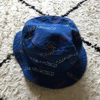 アナップキッズ(ANAP Kids)のANAP 帽子👒 バケハ バケットハット 青 ANAP柄 キッズ (帽子)