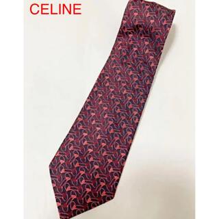 セリーヌ(celine)の【美品】CELINE セリーヌ 総柄ネクタイ 個性的 ブラック(ネクタイ)