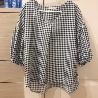 ナチュラルクチュール(natural couture)のチェック ブラウス 5分丈(シャツ/ブラウス(半袖/袖なし))