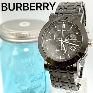 BURBERRY - 255 バーバリー時計 メンズ腕時計 ブラック クロノグラフ 箱付き 人気