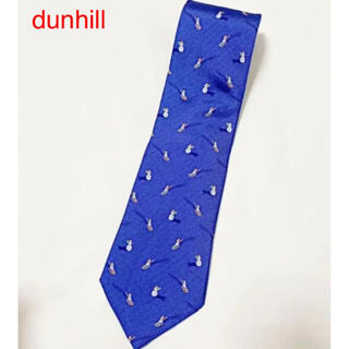 ダンヒル(Dunhill)の【美品】dunhill ダンヒル 総柄ネクタイ 雪だるま ソリ ブルー(ネクタイ)