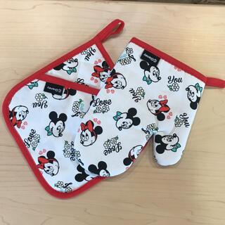 ミッキーマウス(ミッキーマウス)のミッキー&ミニー 鍋つかみ・鍋敷き2点セット 新品 匿名発送(キッチン小物)