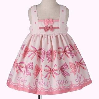 Shirley Temple - リボン プリント ピンク色 ワンピース シャーリーテンプル