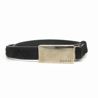 グッチ(Gucci)のグッチ GUCCI ベルト ロゴ レザー ハラコ 75cm 30 黒 ■OH(ベルト)
