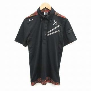 オークリー(Oakley)のオークリー ゴルフシャツ ポロシャツ ボタンダウン 半袖 刺繍 M 黒(ポロシャツ)