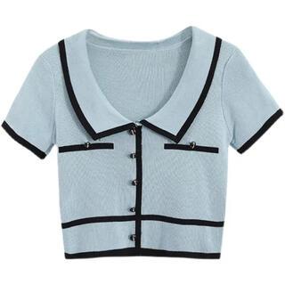 ZARA - ショート丈 半袖ニット 襟付き ニット ポロシャツ