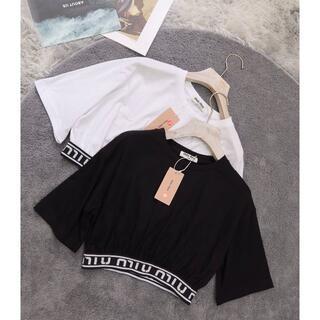 miumiu - MIUMIU 木綿の短い半袖tシャツ