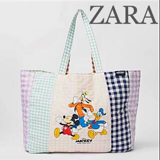 【新品未使用】ZARA ディズニー ギンガムチェックトートバッグ ミッキーマウス(トートバッグ)