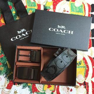 COACH - コーチ メンズベルト F64839 ブラック リバーシブル カット 男性ベルト