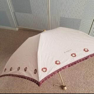 ミナペルホネン(mina perhonen)のマリークレール/お花刺繍とレースの晴雨両用折り畳み傘/伸縮可能タイプ(傘)