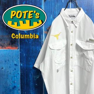 Columbia - 【コロンビア】PFGテキサス大学チーム刺繍ロゴ半袖フィッシングシャツ 90s