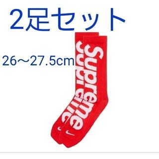 Supreme - supreme 靴下  ソックス  レッド  2個セット