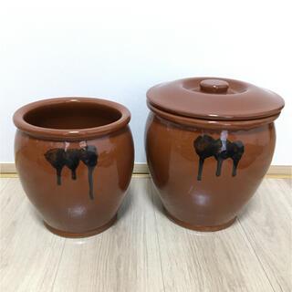 2個セット!送料無料!常滑焼  久松  丸壺  蓋付き 壷 漬物 梅干し 味噌(容器)