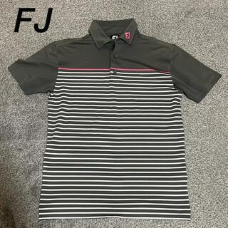 フットジョイ(FootJoy)の美品 フットジョイ FJ ポロシャツ グレー メンズ ボーダー(ウエア)