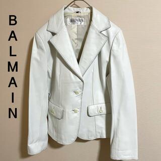 バルマン(BALMAIN)の貴重 バルマン ジャケット シープスキン ホワイト 羊革(テーラードジャケット)