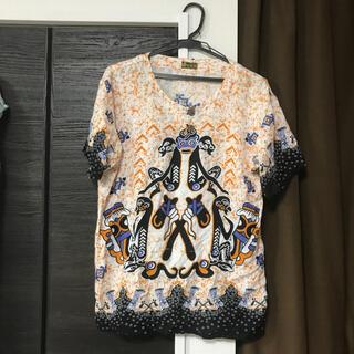アンティックバティック(Antik batik)のkukuh春夏物ペンギン柄カットソー半袖batik着丈67身幅50インドネシア製(カットソー(半袖/袖なし))
