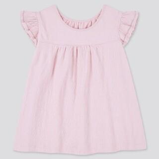 UNIQLO - フリルスリーブTシャツ ピンク サイズ80
