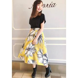 IENA - トルディア ✽ ミモレ丈 大花柄フレアスカート ✽ 日本製