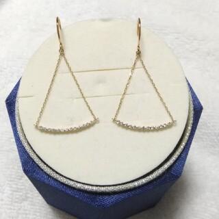 agete - K 10  極小 ダイヤ トライアングル リュール ピアス