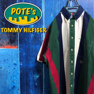 TOMMY HILFIGER - 【トミーヒルフィガー】オールド刺繍ロゴ半袖ボールドマルチストライプシャツ 90s