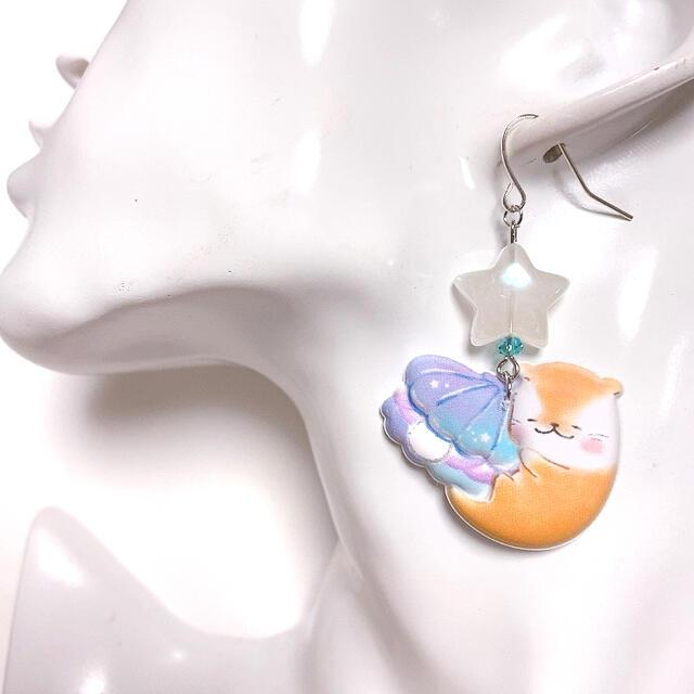 ゆる可愛い♡マシュマロ カワウソさんピアス・イヤリング/大きめサイズ ハンドメイドのアクセサリー(ピアス)の商品写真