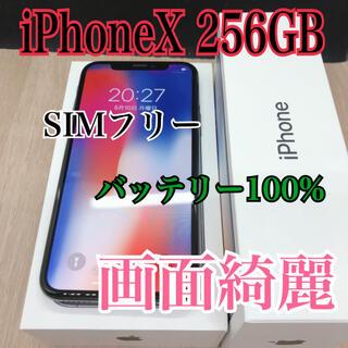 iPhone - 【SIMフリー】【100%】iPhone x 256 gb シルバー 【B】