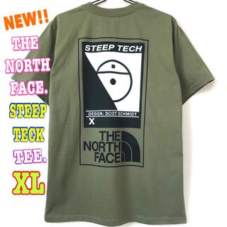 ザノースフェイス(THE NORTH FACE)の厚生地 ♪ XL ~ L 新品 STEEP TECK Tシャツ オリーブ(Tシャツ/カットソー(半袖/袖なし))