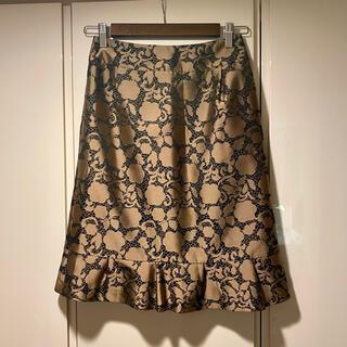 EPOCA - オースチンリード 花柄スカート 膝丈 ジャガード ゴールド 刺繍 茶 レース