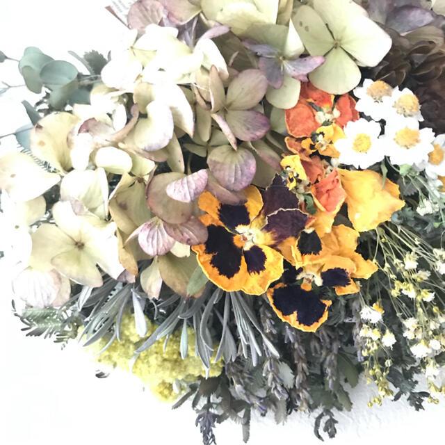 SALE yellow×brown 3種の木の実の ドライフラワー スワッグ ハンドメイドのフラワー/ガーデン(ドライフラワー)の商品写真