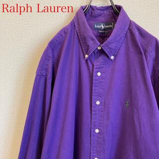 POLO RALPH LAUREN - 90s ラルフローレン BDシャツ パープル 古着 ゆるだぼ vintage